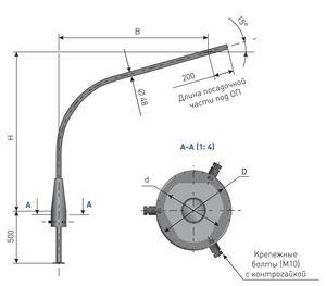 Кронштейн для опоры освещения К1К с обечайкой