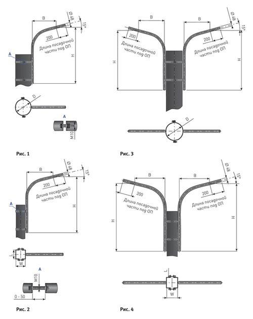 Кронштейн для опоры освещения К1П приставной (на хомуте)