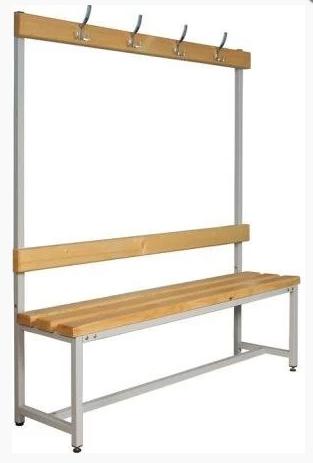 Скамейка для раздевалок со спинкой и вешалкой